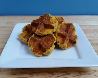 Grain-free Banana Peanut Butter Pumpkin dog waffle treat