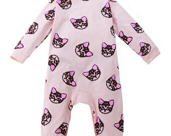 Toddler baby boys girls long sleeve kitten print romper jumpsuit