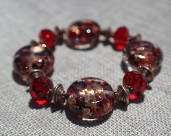 Red/Copper Glass Disk Bracelet
