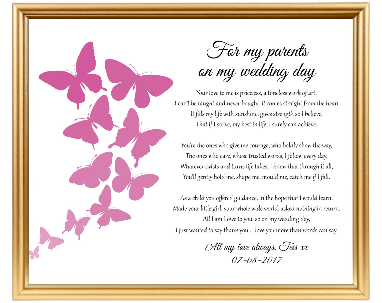 Wedding Gift Poems: Wedding Thank You Gift Poem To My Parents To Mom Mum