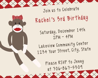 Customized Sock Monkey Inspired for boy or girl Birthday Party Custom Invitation for DIY Printing and Design
