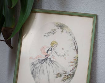 Vintage whimsical girl picture