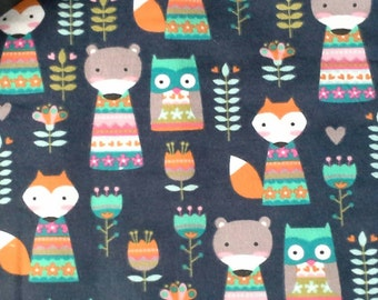 Foxes, Owls and Bears in Bright Colors Flannel Baby Blanket - Baby or Toddler Girl
