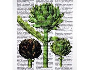 Artichoke Print on a Vintage Dictionary Page
