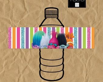 Trolls water bottle label, Trolls water bottle, Trolls label, Trolls Printable, Trolls Party, Poppy birthday, Trolls labels, Poppy Party