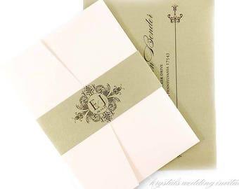The Erin Suite - Damask Monogram Pocketfold Wedding Invitation Suite - SAMPLE