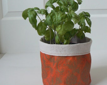 Orange and Gold Fabric Planter, Herb Pot, Fabric Pot, Storage Bucket, Fabric Basket