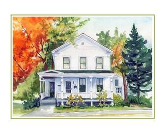 Watercolor House Portrait 8 x 10