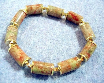 Rustic Autumn Stone Tube Bead Bracelet, Handmade Stretch Bead Bracelet, Business Jewelry for the Office, Yellow Gold Jewelry