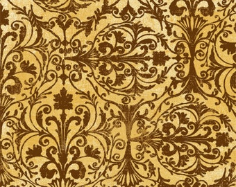 Windflower Flannel - Brown Damask Fabric