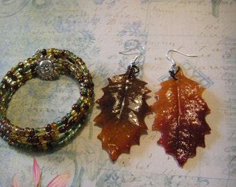 OOAK 3 Pc. Autumn set........  Memory bracelet with pierced earrings