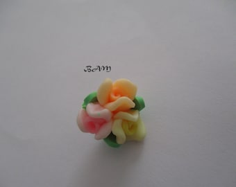 Drilled multicolor 15mm flower BOUQUET