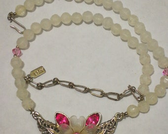 Free domestic shipping 1928 necklace with floral pendant and faceted beads