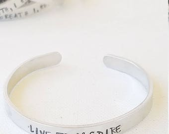 "Custom Hand Stamped Jewelry Cuff Inspirational Quote ""LIVE TO INSPIRE"" Motivational Quote Mantra Words of Affirmation"