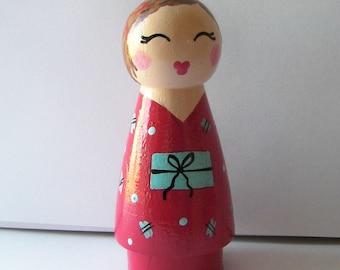 Hand Painted Love Boxes Kokeshi Doll Wood