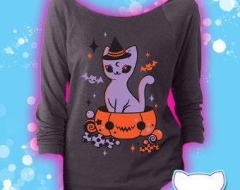Treat Surprise Kawaii Pumpkin Kitty 3/4 Sleeve Wideneck Shirt Pastel Goth Fairy Kei