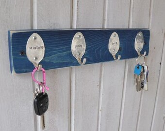 Personalized Mini Spoon Hooks Rack Any Color Finish Recycled Silverware