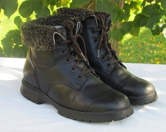 FASHION SALE Size 8 Black Leather Boots, Winter Boots, Snow Boots, Ankle Boots, Lace-up Boots, Outdoor Boots, Made in Canada, Size 6 UK, 38-