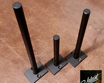 "Steel 2""-12"" Long 1/2"" Post DIY Floating Shelf Bracket Pair - 1 1/2"" x 2"" backing plate - New LOWER PRICE!"