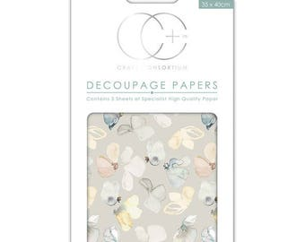 Paper patch (3 sheets) half flowers pastel background - CCDECP0186