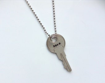 Vintage Soar Key Necklace/ Jewelry / Stamped Vintage Key / Soar Key Pendant/ Hand Stamped/ Gift For Her/ Gift For Friend/ Steampunk /