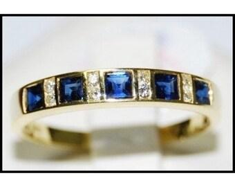 Diamond Natural Blue Sapphire 18K Yellow Gold Band Ring [R0026]