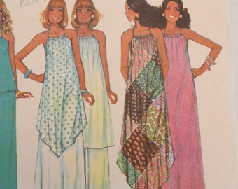70s Draw string halter dress tunic top pants boho maxi dress McCall's 5110 misses M bust 32.5 - 34 vintage sewing pattern UC