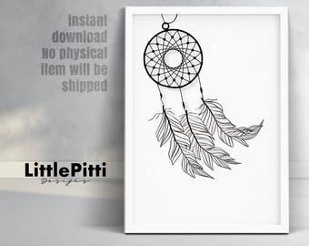 Dreamcatcher print, dreamcatcher art, nursery wall art, boho print, tribal nursery art, minimalist art, feather dreamcatcher, digital art