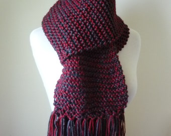 Knit Scarf with Fringe Unisex Scarf Mens Scarf Womens Scarf Warm Winter Scarf in Burgundy/Charcoal 8 x 60 - Ready to Ship