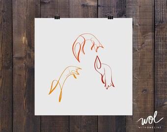 Line Drawing Fox : Fox print minimal art calligraphy