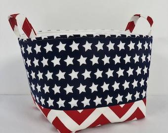 Fabric Organizer Bin Storage Container Basket - 4th July Decor -  White Stars on Navy Blue and Red /White Chevron Fabrics