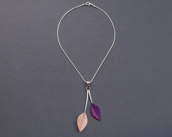 Unique Minimalist Double Feather Pendant Necklace on Short Silver Snake Chain in Shiny Eggshell + Purple Leaf Style