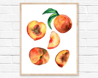 peach watercolor watercolor peach peach print peach watercolour watercolor flowers kitchen decor original painting watercolor peach fruit