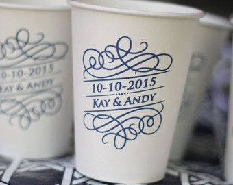 Personalized Paper Coffee Cups 12 oz - WITH LIDS