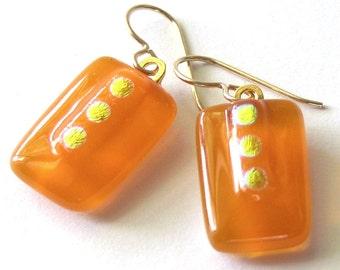 Tangerine and Gold - Petite Fused Glass Earrings - Drop Earrings - Vermeil - Nectarine Glass