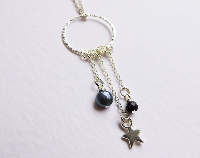 Silver Star & Indigo Pearl Charm Pendant - Blue Sandstone Gem Charm on Long Silver Necklace - Peacock Blue Freshwater Pearl - Falling Star