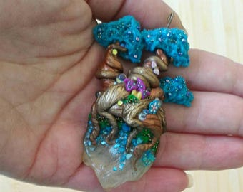 Necklace turquoise fantasy tree