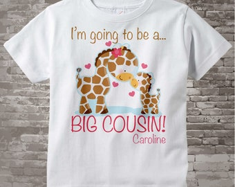 Big Cousin Outfit top - I'm Going to Be A Big Cousin Shirt or Onesie - Personalized Big Cousin Shirt, Big Cousin Giraffe 04122012a