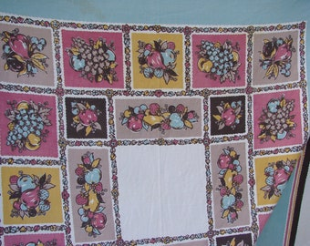 Vintage Startex Fruit Print Kitchen Tablecloth