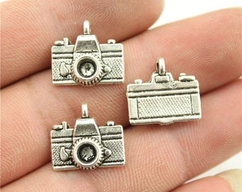 9 Camera Charms, Antique Silver Tone Charms (1B-134)
