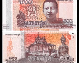 Banknoten aus Kambodscha - 100 Riel - veränderte Bücher, ATCs, Collage, Mischtechnik, Reise-Thema Kunst