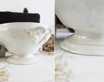 White Ironstone Soup Tureen, White Ironstone Tureen Vintage, French Soup Tureen Antique, French Tureen, French Soup Tureen (E785)