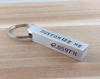 Personalized Keychain for Men Custom Keychain Aluminum Bar Keychain Metal Keychain Aluminum Keychain Hand Stamped Keychain for Him Key chain