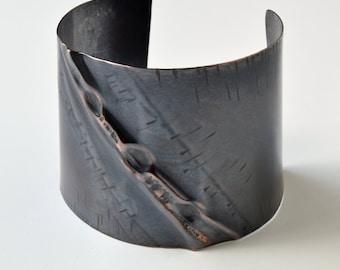 Copper Cuff, Foldform, Air Chased, Dark Patina, New Design!