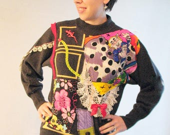 Refashioned upcycled cashmere sweater collage boho wearable art