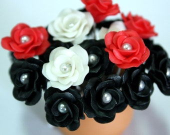 Miniature Roses Polymer Clay Flowers Supplies for Beaded Jewelry 12 pcs. in shade of Black-White-red, 3 tones