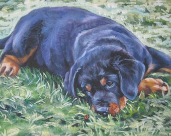 Rottweiler puppy dog art CANVAS print of L.A.SHEPARD painting 12x16 inch