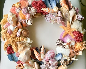 Coastal Style Shell and Coral Designer Handcrafted Decorative Wreath