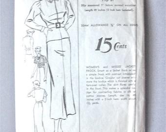 SALE 20% OFF Vintage 1930s dress sewing pattern.  Advance 1451