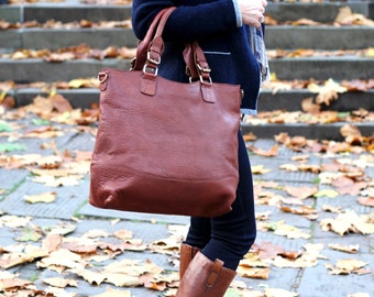 Large Leather Bag - Tan Purse Tote